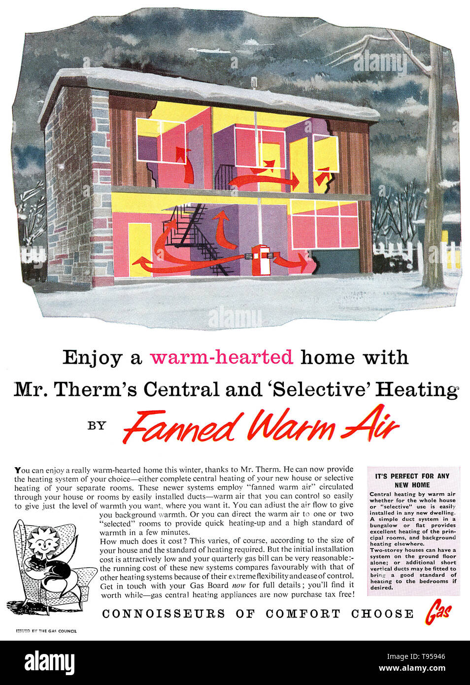 1958 British advertisement by the Gas Council for gas central heating. Stock Photo