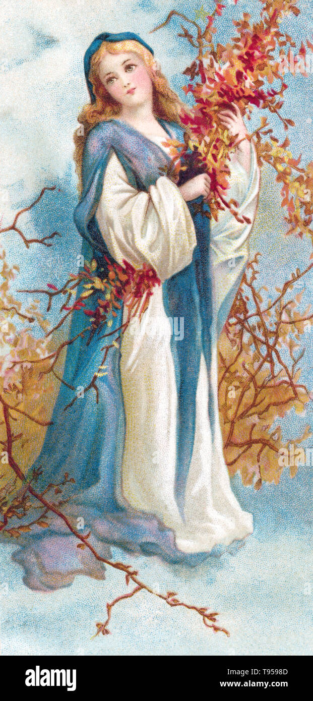 Edwardian illustration of a winsome girl in an autumnal setting. Taken from a vintage postcard. - Stock Image
