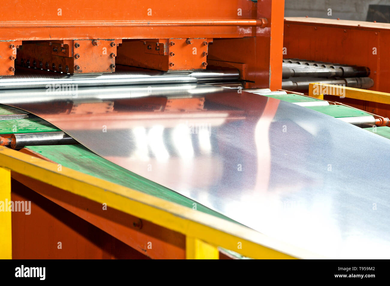 Galvanized sheet in the machine for further processing, Russia - Stock Image