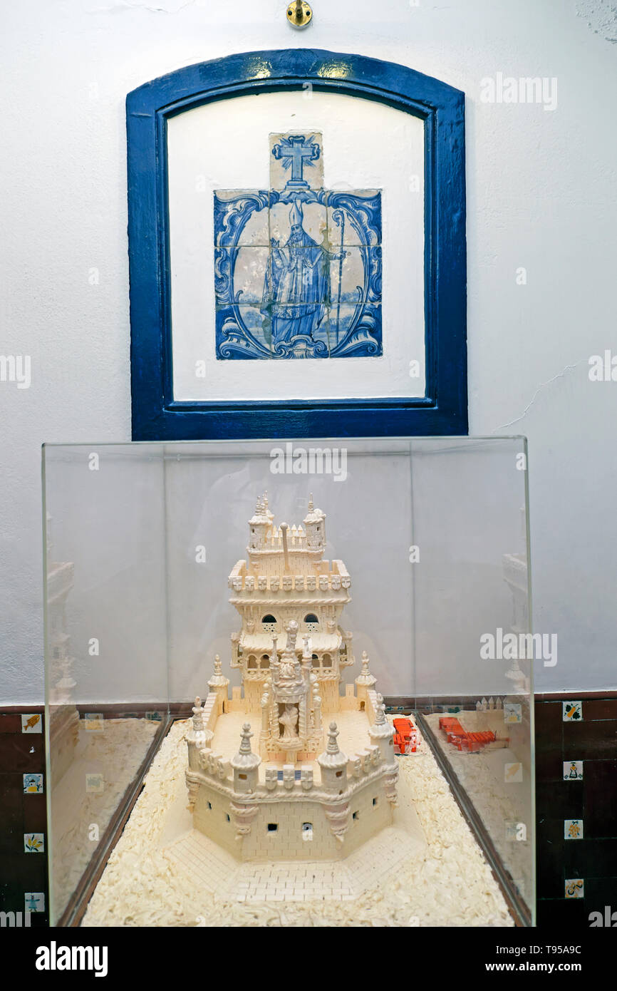 Pasteis de Belem shop interior with a reproduction cake in the form of the Lisbon Tower and azulejos in Belem Lisbon, Portugal, Europe  KATHY DEWITT - Stock Image
