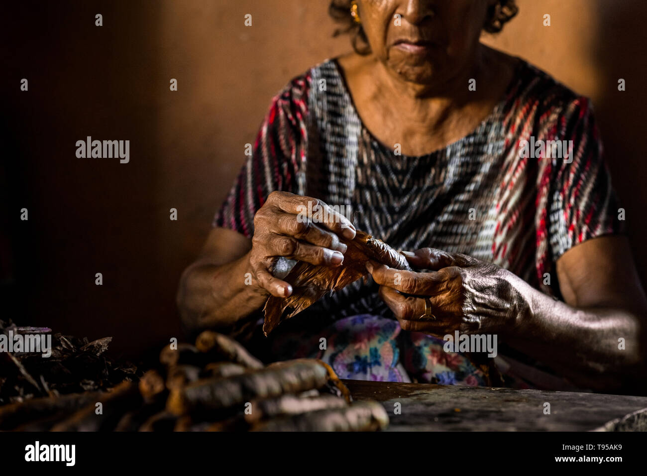 Laura Peña, a 67-years-old Salvadoran woman, rolls tobacco leaves into a handmade cigar in her house in Suchitoto, El Salvador. - Stock Image