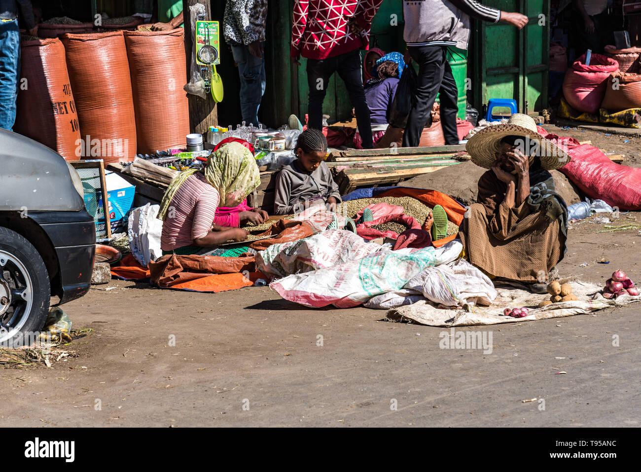 Addis Mercato in Addis Abeba, Ethiopia, the largest market in Africa. - Stock Image