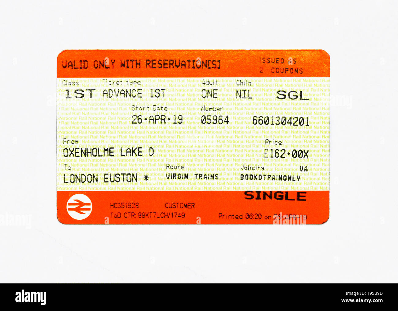 United Kingdom Train Ticket. Oxenholme Lake District to London Euston. 1st. Class. Adult. Advance 1st. Single. Virgin Trains. Price £162.00. - Stock Image