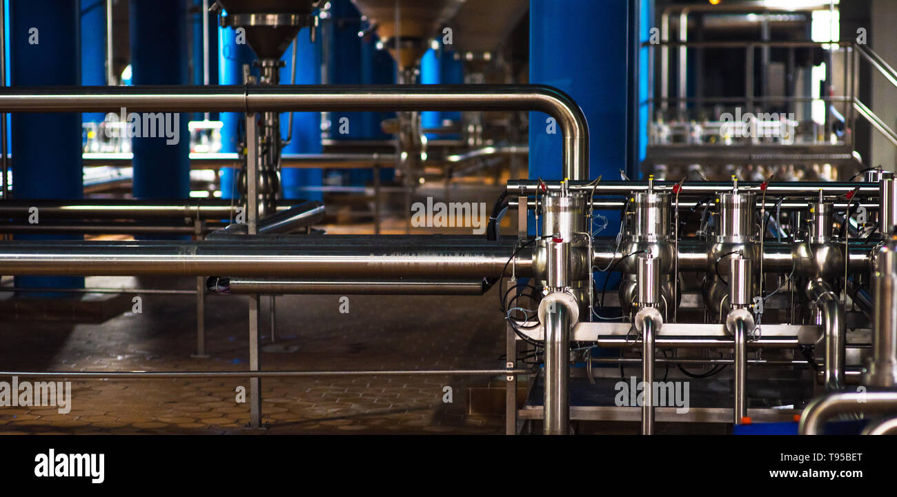 Stainless steel pipes in the factory  Construction on food