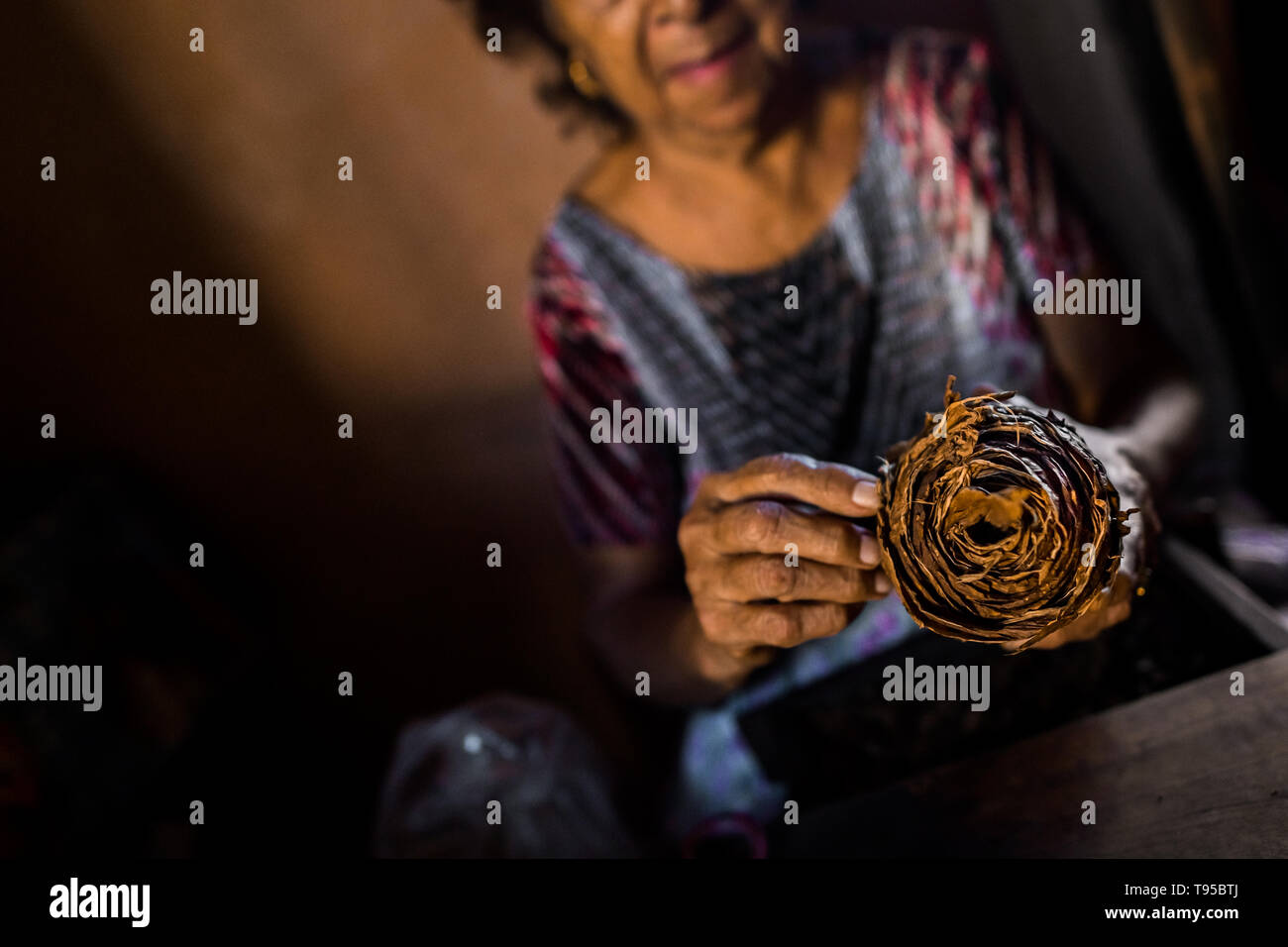 Laura Peña, a 67-years-old Salvadoran woman, unwraps a pack of rolled tobacco leaves to make handmade cigars in Suchitoto, El Salvador. - Stock Image