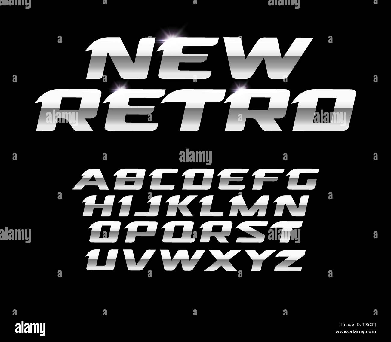 New retro letters set. Polished steel texture, metal style vector latin alphabet. Fonts for futuristic design, modern logos, banner, monogram and - Stock Vector