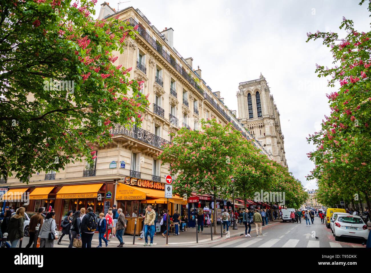 Paris, France - 24.04.2019: Old street Rue d'Arcole with view of Notre Dame de Paris after fire, France - Stock Image
