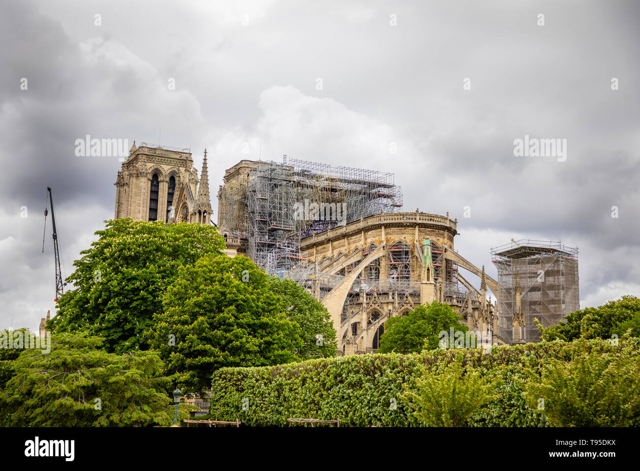Paris, France - 24.04.2019: Notre Dame de Paris after fire. Reinforcement work in progress after the fire, to prevent the Cathedral to collapse, Paris - Stock Image