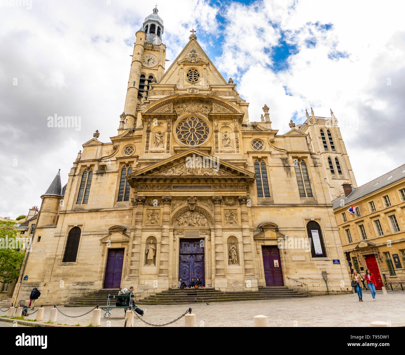 Paris, France - 24.04.2019: Saint Etienne du Mont Church in Latin Quarter, french gothic church in cloudy day, Paris, France - Stock Image