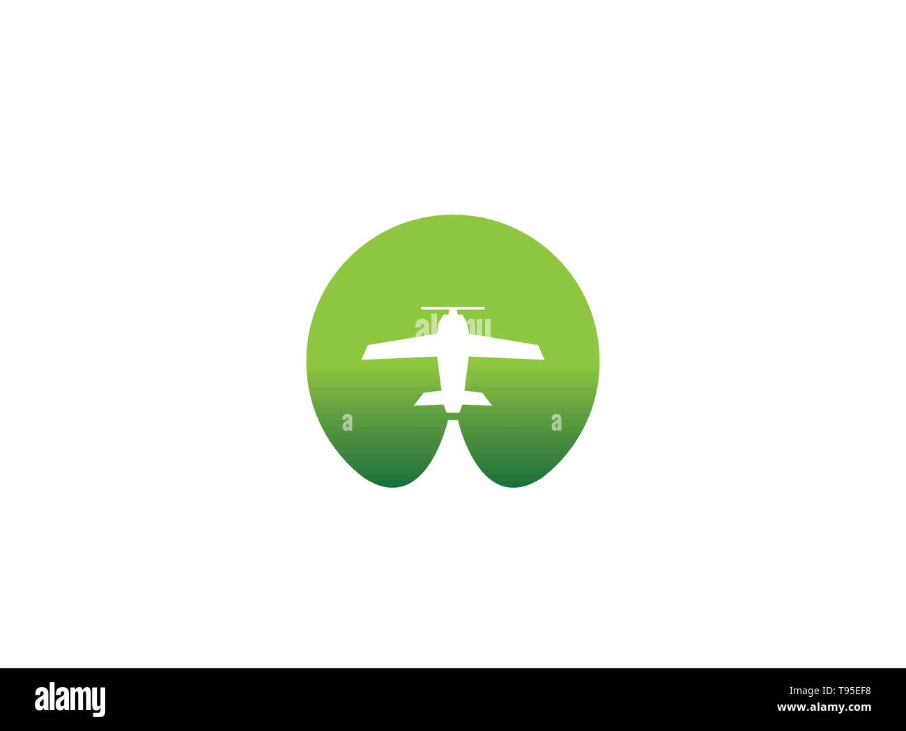 Small plane travel agency logo design idea with an airplane across the green circle negative space. Amazing destinations creative symbol trip icon - Stock Image