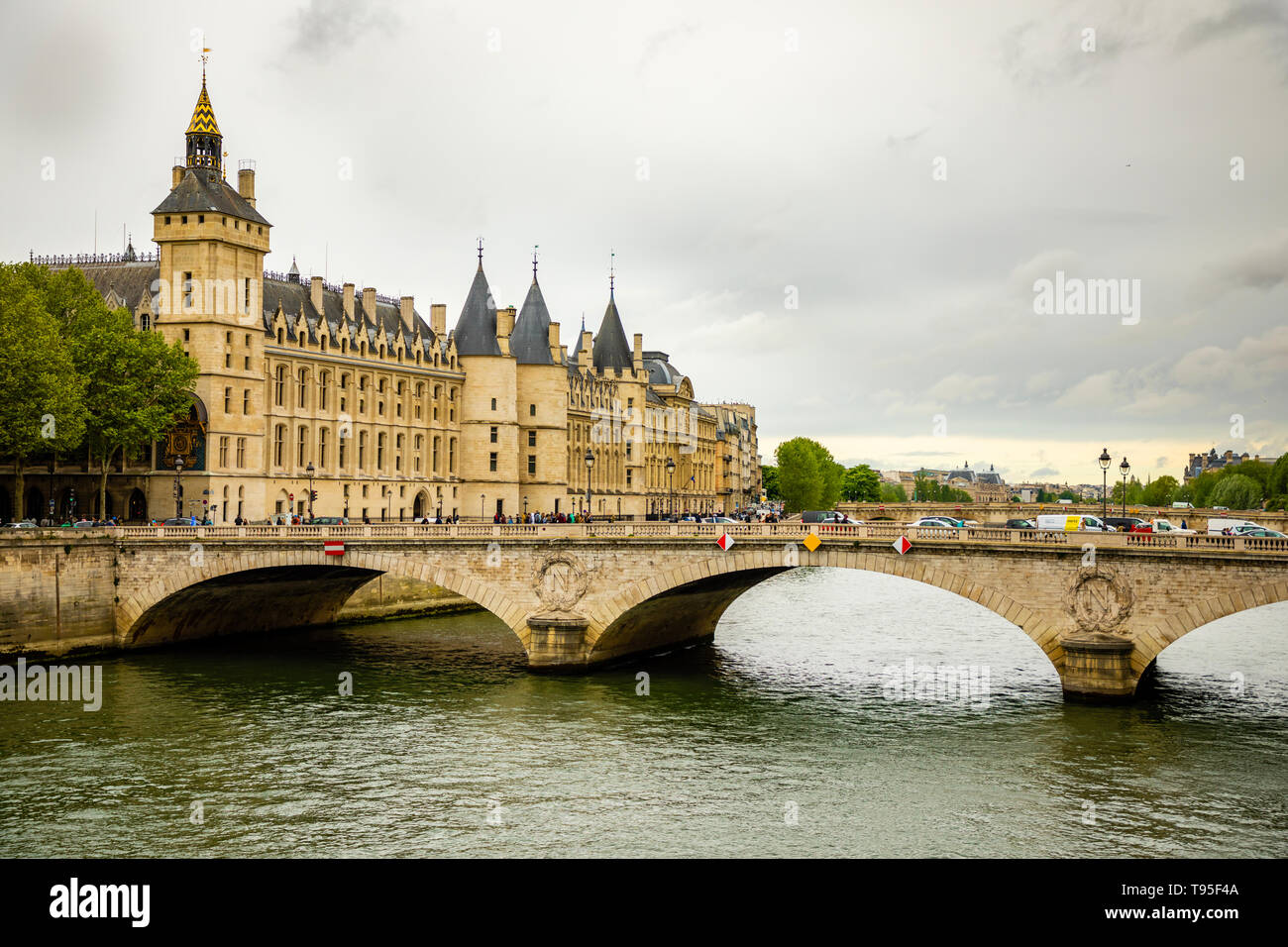 Paris, France - 24.04.2019: View of the Commercial Court of Paris and river Seine seen from Pont d'Arcole, France - Stock Image