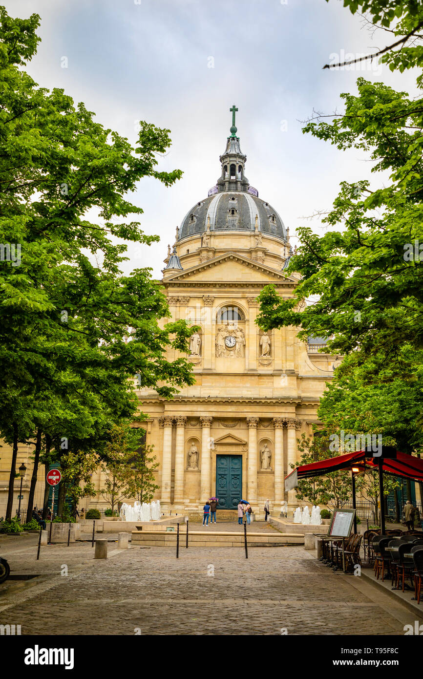 Paris, France - 24.04.2019: Sorbonne square and College de Sorbonne, one of the first colleges of medieval University in Paris, France - Stock Image
