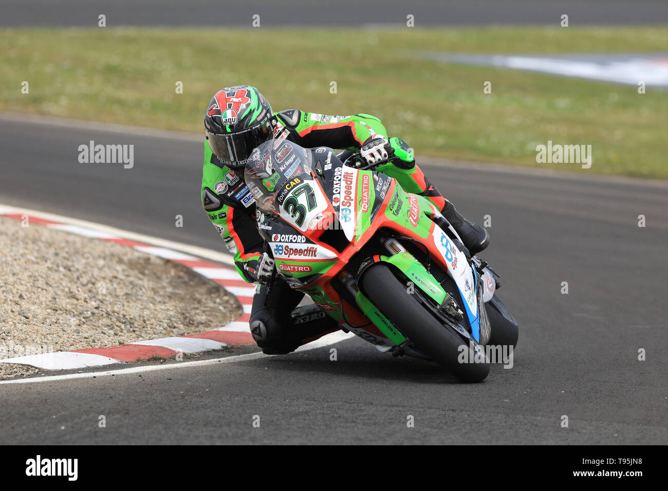 Portrush, Northern Ireland. 16th May, 2019. International North West 200 Motorcycle road racing, Thursday practice and evening racing; James Hillier on the Quattro Plant Wicked Coatings Kawasaki during the SuperBike qualifying session Credit: Action Plus Sports/Alamy Live News - Stock Image
