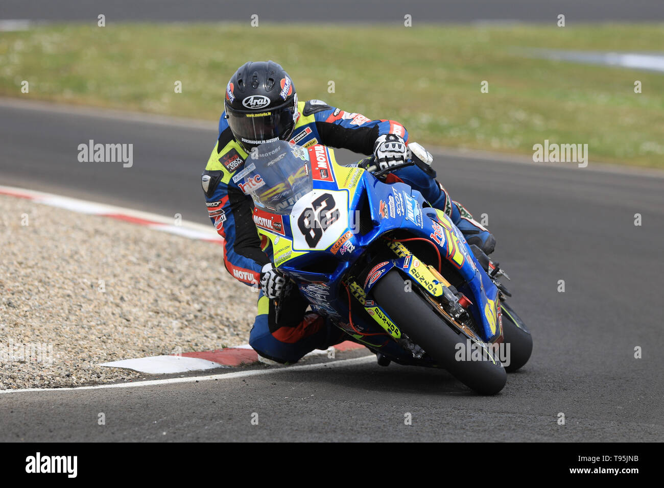 Portrush, Northern Ireland. 16th May, 2019. International North West 200 Motorcycle road racing, Thursday practice and evening racing; Derek Shiels on the Burrows Engineering/RK Racing Suzuki during the SuperBike qualifying session Credit: Action Plus Sports/Alamy Live News - Stock Image