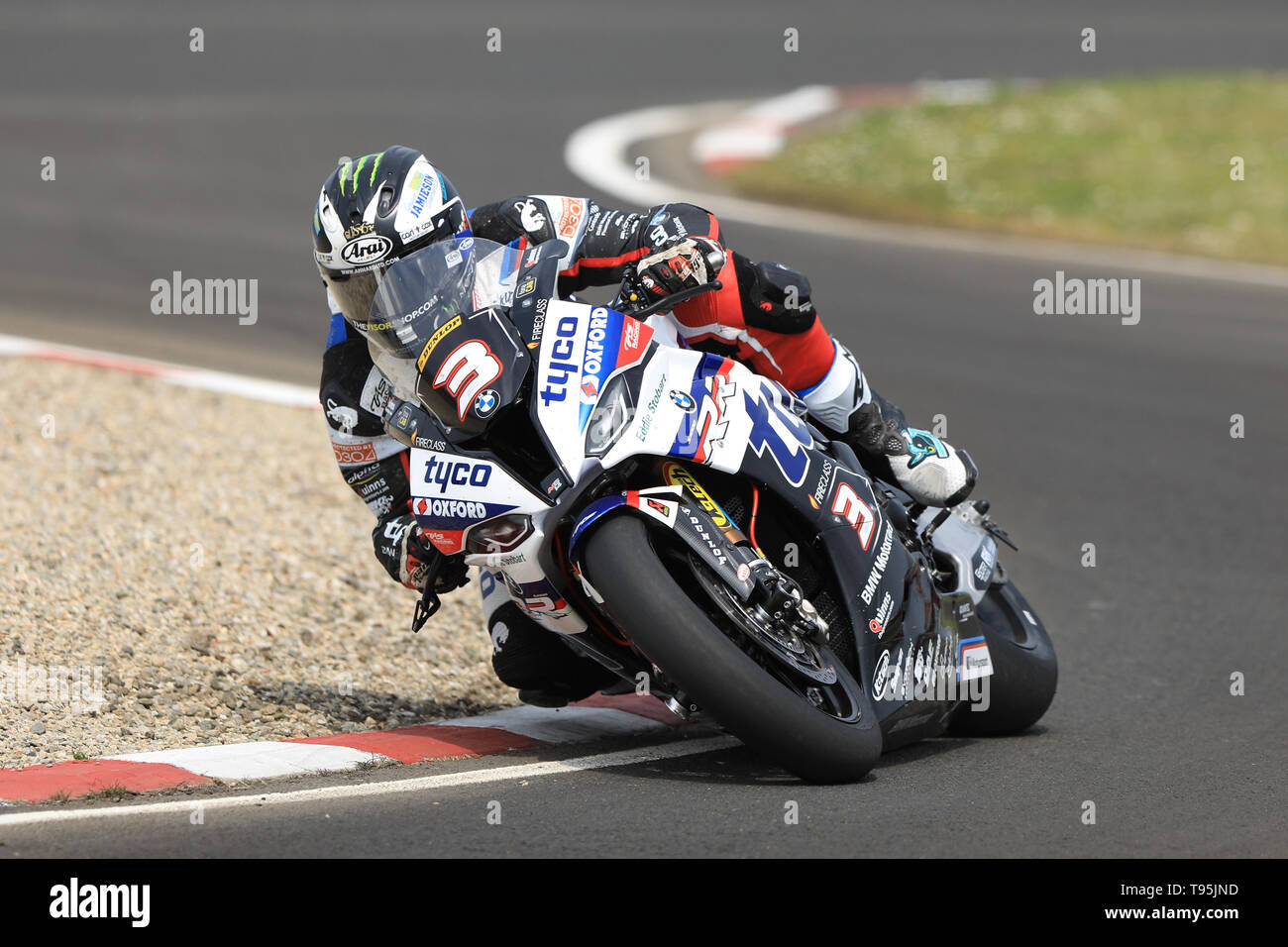 Portrush, Northern Ireland. 16th May, 2019. International North West 200 Motorcycle road racing, Thursday practice and evening racing; Michael Dunlop on the TYCO BMW during the SuperBike qualifying session Credit: Action Plus Sports/Alamy Live News - Stock Image