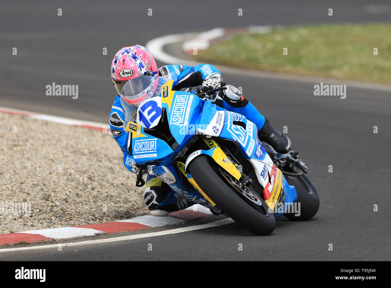 Portrush, Northern Ireland. 16th May, 2019. International North West 200 Motorcycle road racing, Thursday practice and evening racing; Lee Johnston on the Ashcourt Racing BMW during the SuperBike qualifying session Credit: Action Plus Sports/Alamy Live News - Stock Image