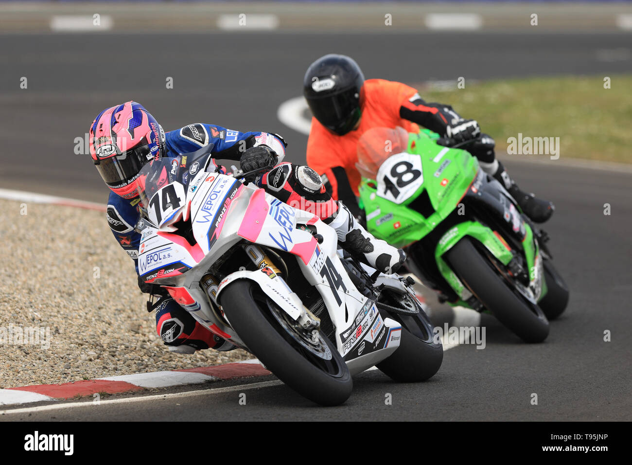 Portrush, Northern Ireland. 16th May, 2019. International North West 200 Motorcycle road racing, Thursday practice and evening racing; Davey Todd (Penz13.com BMW) leads Switzerland's Lukas Maurer on the L78 Racing Team by Heidger Motorsport Kawasaki during the SuperBike qualifying session Credit: Action Plus Sports/Alamy Live News - Stock Image