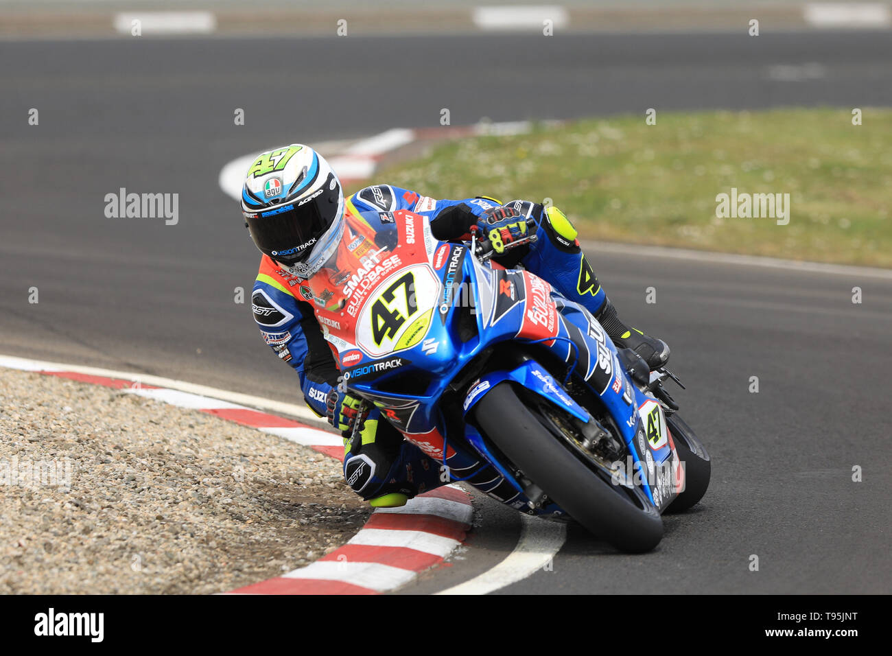Portrush, Northern Ireland. 16th May, 2019. International North West 200 Motorcycle road racing, Thursday practice and evening racing; Richard Cooper went 8th fastest on the Buildbase Suzuki Suzuki during the SuperBike qualifying session - his first visit to the NorthWest course Credit: Action Plus Sports/Alamy Live News - Stock Image