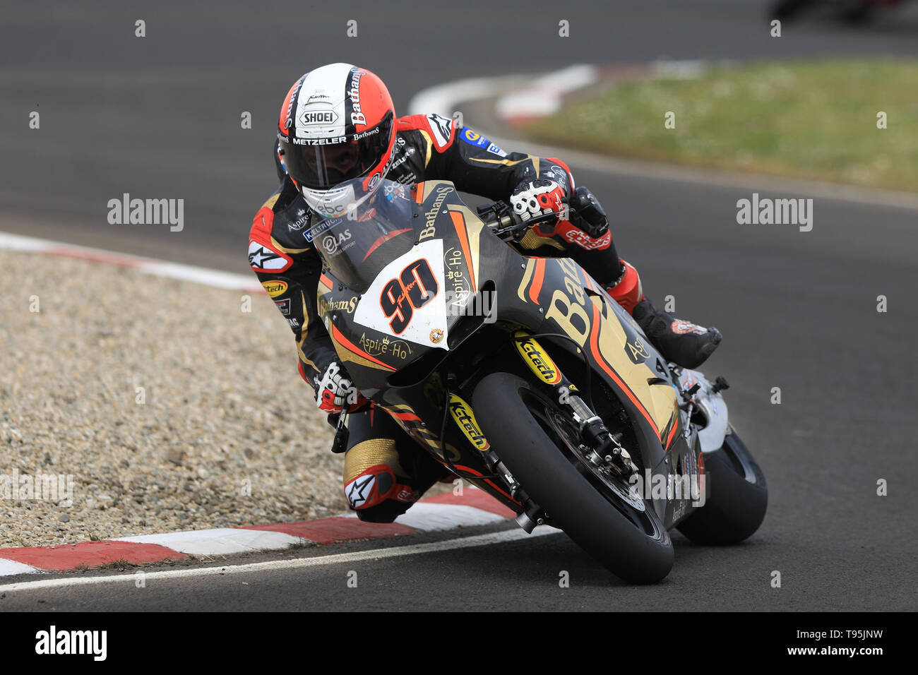 Portrush, Northern Ireland. 16th May, 2019. International North West 200 Motorcycle road racing, Thursday practice and evening racing; Michael Rutter was 7th fastest on the Bathams Racing/Aspir-Ho Honda during the SuperBike qualifying session Credit: Action Plus Sports/Alamy Live News - Stock Image