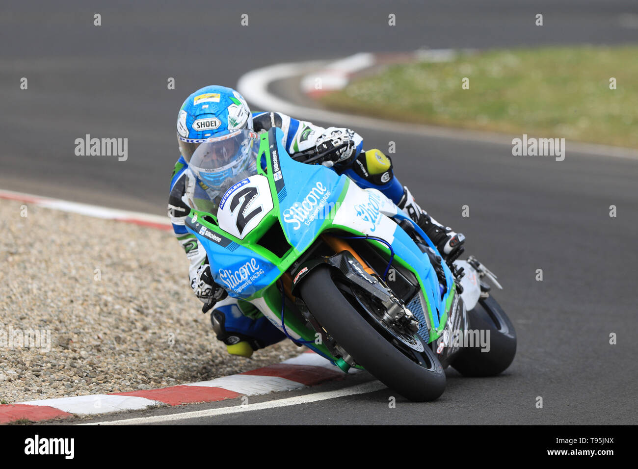 Portrush, Northern Ireland. 16th May, 2019. International North West 200 Motorcycle road racing, Thursday practice and evening racing; Dean Harrison was second fastest on the Silicone Engineering Racing Kawasaki during the SuperBike qualifying session Credit: Action Plus Sports/Alamy Live News - Stock Image