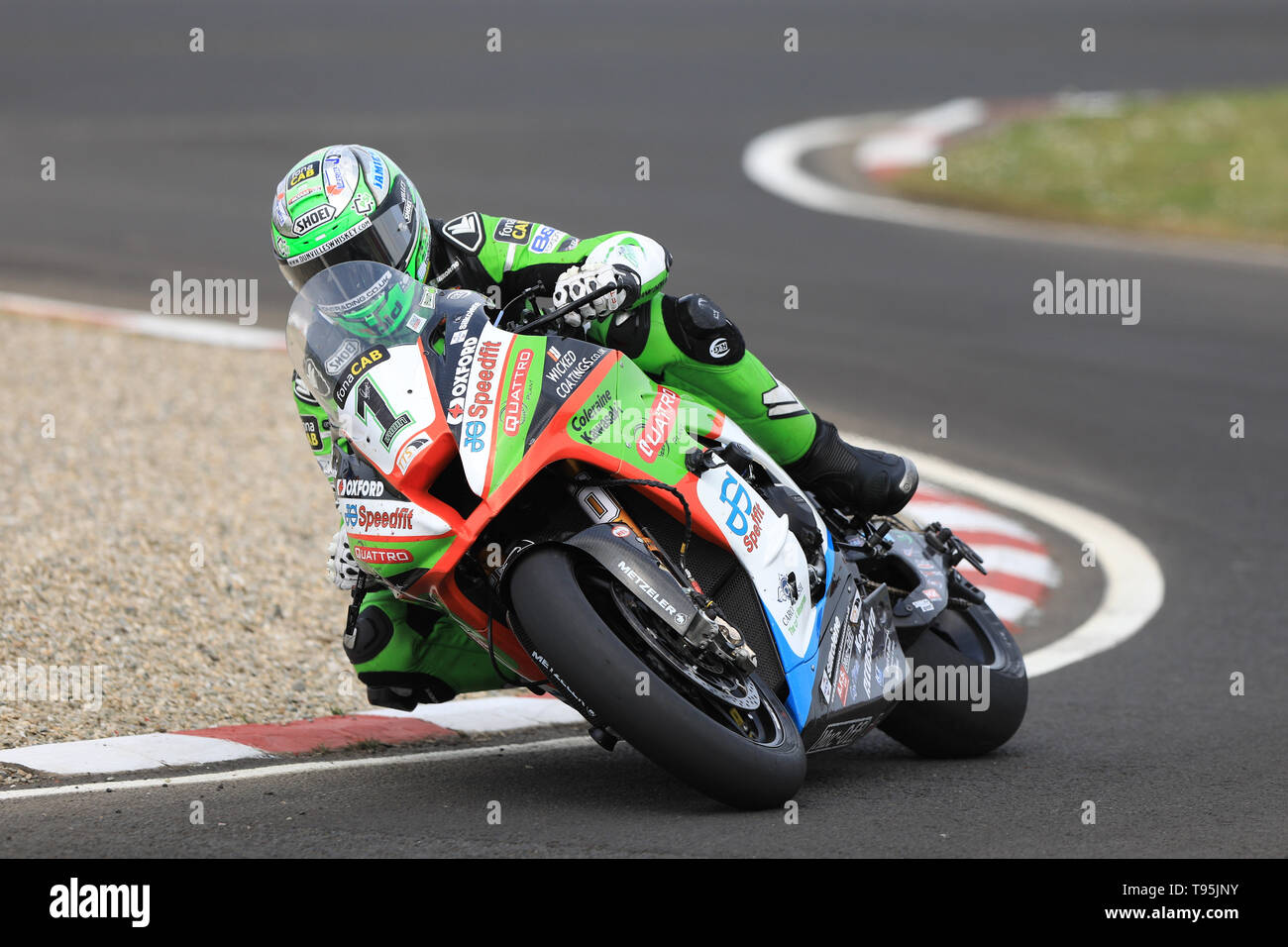 Portrush, Northern Ireland. 16th May, 2019. International North West 200 Motorcycle road racing, Thursday practice and evening racing; Glenn Irwin sets a new Unofficial lap record on the Quattro Plant Wicked Coatings Kawasaki during the SuperBike qualifying session Credit: Action Plus Sports/Alamy Live News - Stock Image