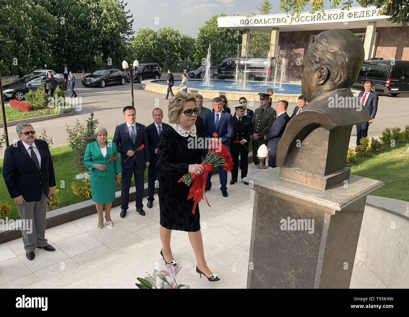 Ankara, Turkey. 16th May, 2019. ANKARA, TURKEY - MAY 16, 2019: Russian Federation Council Chairperson Valentina Matviyenko (C) and members of the Russian Federation Council during a flower laying ceremony at a bust of former Russian Ambassador to Turkey Andrei Karlov at the Russian Embassy in Ankara. Karlov was shot dead at the opening of an exhibition titled 'Russia from Kaliningrad to Kamchatka through the Eyes of Travellers' at an art gallery in the Turkish capital, Ankara, on December 19, 2016. Denis Solovykh/TASS Credit: ITAR-TASS News Agency/Alamy Live News - Stock Image