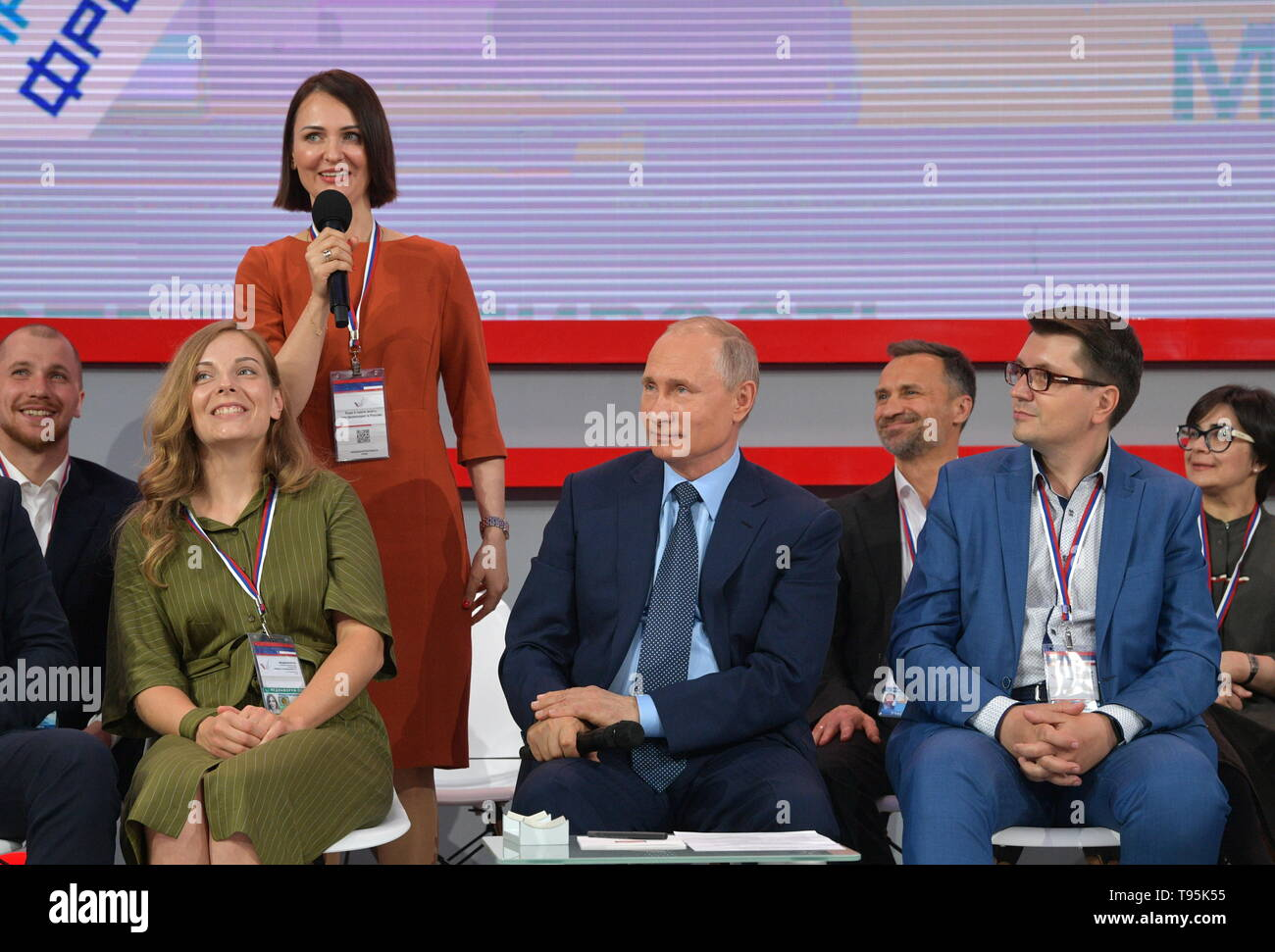 Sochi, Russia. 16th May, 2019. SOCHI, RUSSIA - MAY 16, 2019: Russia's President Vladimir Putin (C) attends the plenary meeting at the 6th Independent Local and Regional Media Forum held by the All-Russian People's Front. Alexei Druzhinin/Russian Presidential Press and Information Office/TASS Credit: ITAR-TASS News Agency/Alamy Live News - Stock Image