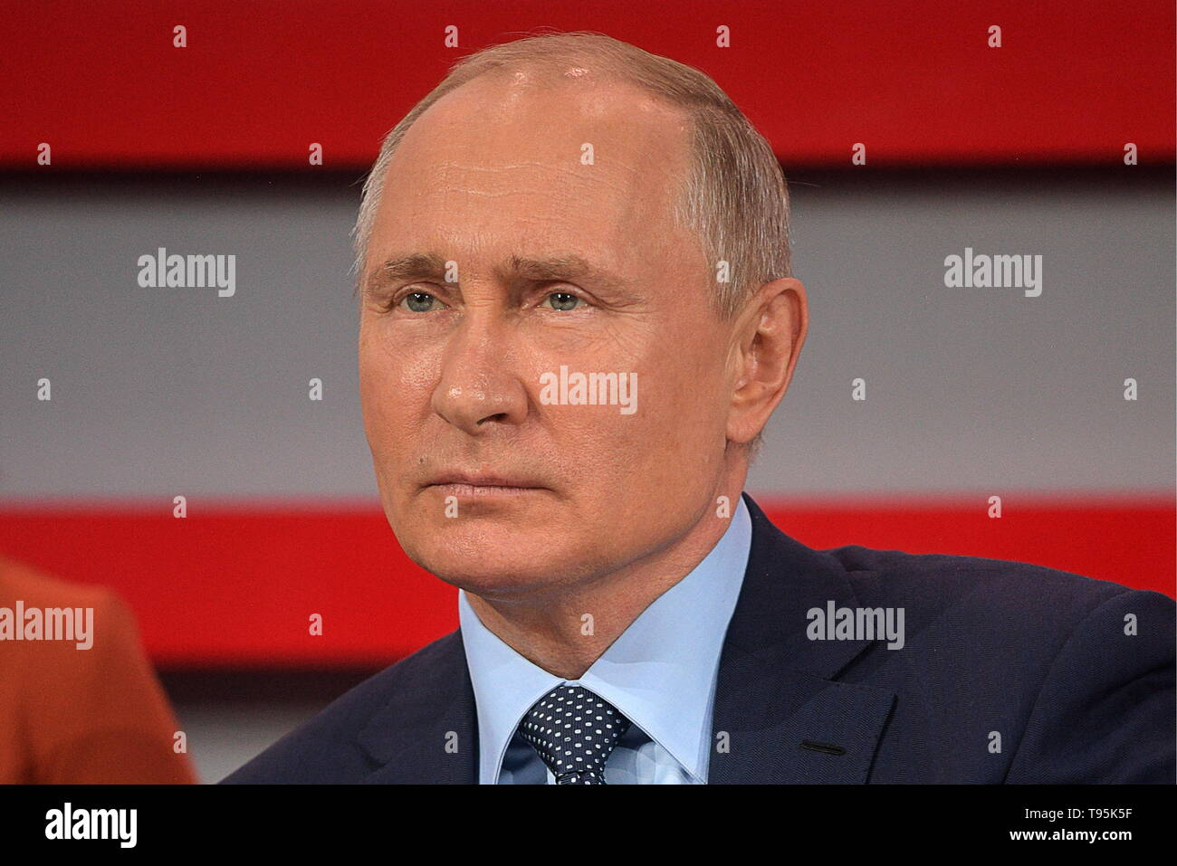 Sochi, Russia. 16th May, 2019. SOCHI, RUSSIA - MAY 16, 2019: Russia's President Vladimir Putin attends the plenary meeting at the 6th Independent Local and Regional Media Forum held by the All-Russian People's Front. Alexei Druzhinin/Russian Presidential Press and Information Office/TASS Credit: ITAR-TASS News Agency/Alamy Live News - Stock Image