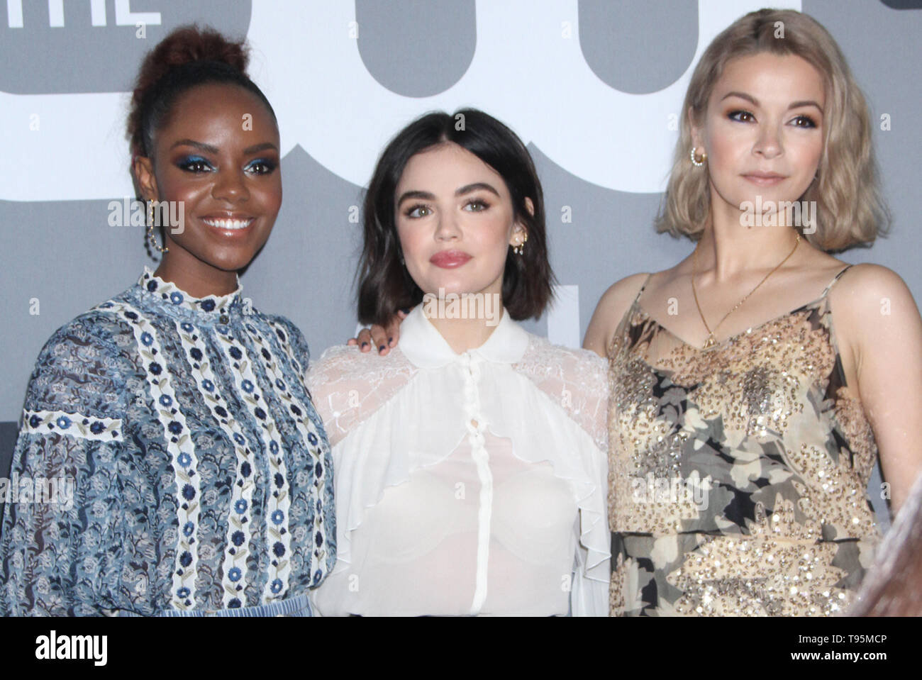 New York, USA. 16th May 2019. Ashleigh Murray, Lucy Hale, Julia Chan, Johnny Beauchamp attend 2019 The CW Upfront New York City Center in New York New York, USA. 16th May 2019. Credit:RW/MediaPunchRuby Rose Credit: MediaPunch Inc/Alamy Live News - Stock Image
