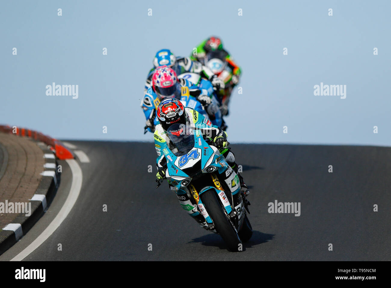 Portrush, Northern Ireland. 16th May, 2019. International North West 200 Motorcycle road racing, Thursday practice and evening racing; Alastair Seeley (EHA Racing Yamaha) led for much of the race Credit: Action Plus Sports/Alamy Live News - Stock Image