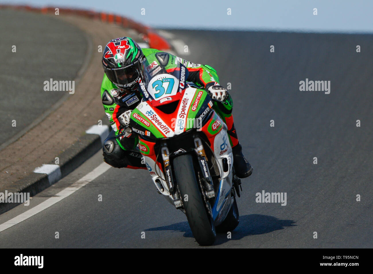 Portrush, Northern Ireland. 16th May, 2019. International North West 200 Motorcycle road racing, Thursday practice and evening racing; James Hillier finishes in 3rd place on the Quattro Plant Wicked Coatings Kawasaki during the SuperSport race Credit: Action Plus Sports/Alamy Live News - Stock Image