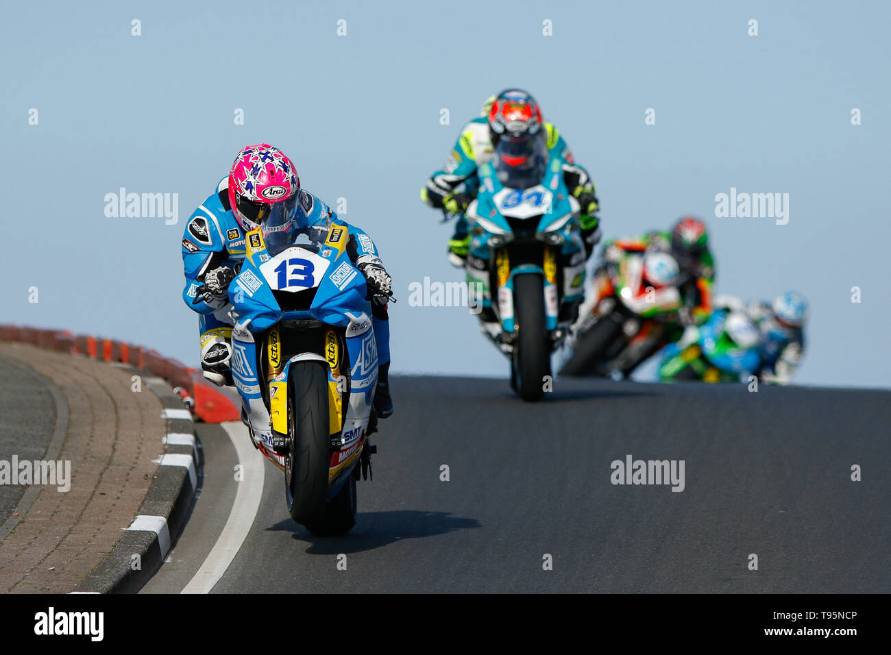 Portrush, Northern Ireland. 16th May, 2019. International North West 200 Motorcycle road racing, Thursday practice and evening racing; Lee Johnston wins the opening SuperSport race on the Ashcourt Racing Yamaha, ahead of Dean Harrison (Silicone Engineering Racing Kawasaki) and James Hillier (Quattro Plant Wicked Coatings Kawasaki) Credit: Action Plus Sports/Alamy Live News - Stock Image