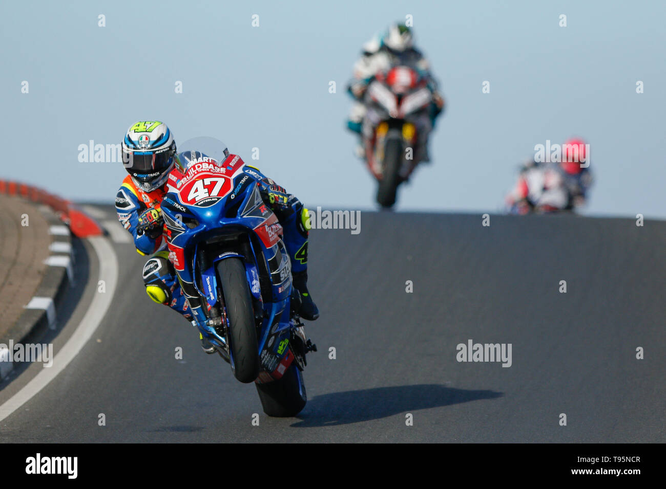 Portrush, Northern Ireland. 16th May, 2019. International North West 200 Motorcycle road racing, Thursday practice and evening racing; Richard Cooper (Buildbase Suzuki) takes 6th place in the Superstock race, on his first visit to the NW200 races Credit: Action Plus Sports/Alamy Live News - Stock Image
