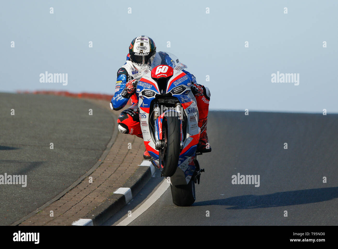 Portrush, Northern Ireland. 16th May, 2019. International North West 200 Motorcycle road racing, Thursday practice and evening racing; Peter Hickman wins the SuperStock race on the Smiths Racing BMW ahead of Glenn Irwin (Quattro Plant Wicked Coatings Kawasaki) Credit: Action Plus Sports/Alamy Live News - Stock Image