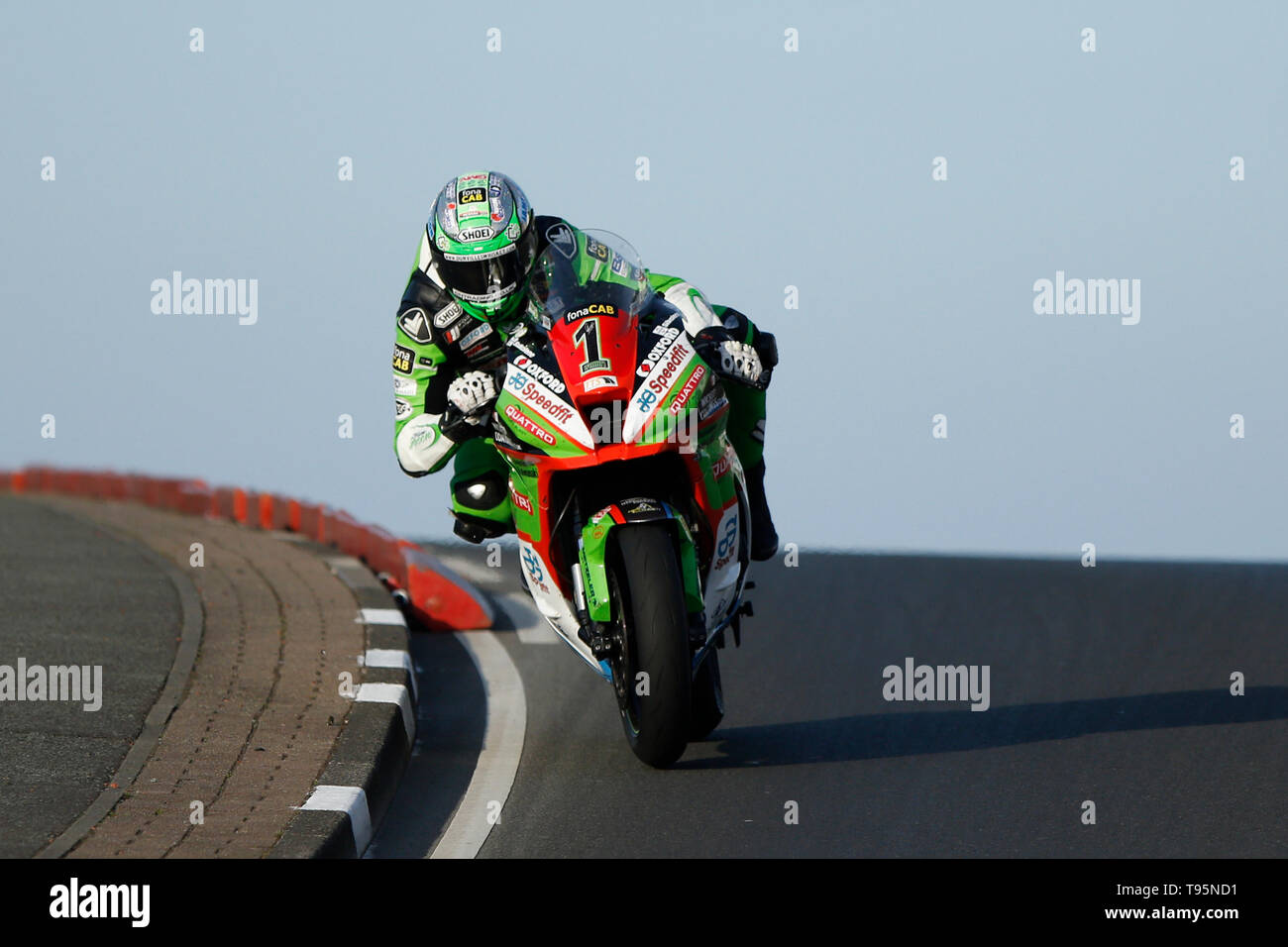 Portrush, Northern Ireland. 16th May, 2019. International North West 200 Motorcycle road racing, Thursday practice and evening racing; Glenn Irwin (Quattro Plant Wicked Coatings Kawasaki) takes second place in the SuperStock race Credit: Action Plus Sports/Alamy Live News - Stock Image