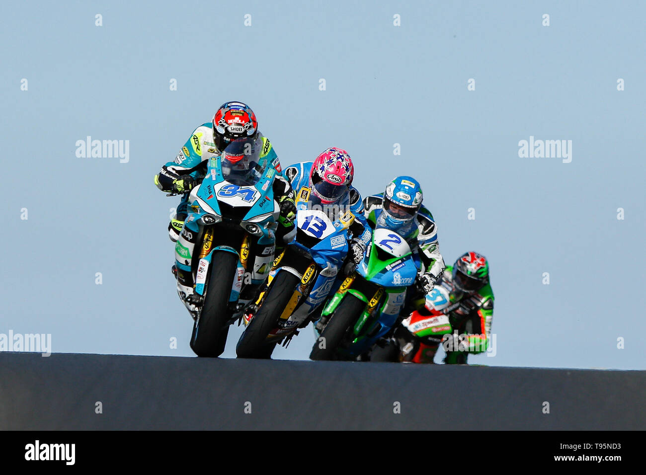 Portrush, Northern Ireland. 16th May, 2019. International North West 200 Motorcycle road racing, Thursday practice and evening racing; Alastair Seeley (EHA Racing Yamaha) leads Lee Johnston (Ashcourt Racing Yamaha), Dean Harrison (Silicone Engineering Racing Kawasaki) and James Hillier (Quattro Plant Wicked Coatings Kawasaki) during the SuperSport race Credit: Action Plus Sports/Alamy Live News - Stock Image
