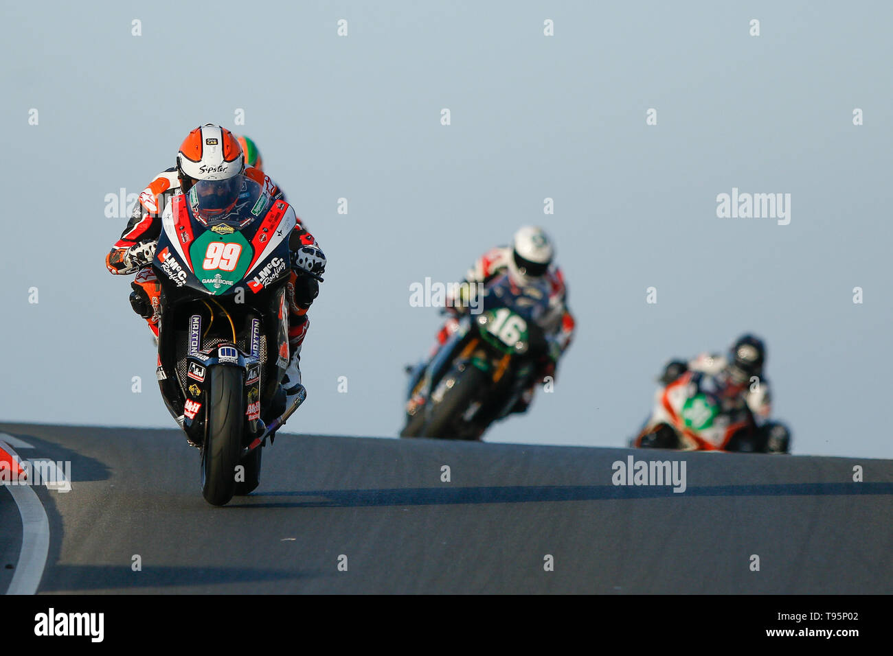 Portrush, Northern Ireland. 16th May, 2019. International North West 200 Motorcycle road racing, Thursday practice and evening racing; Jeremy McWilliams (KMR Kawasaki) was leading before falling on the 2nd lap Credit: Action Plus Sports/Alamy Live News - Stock Image