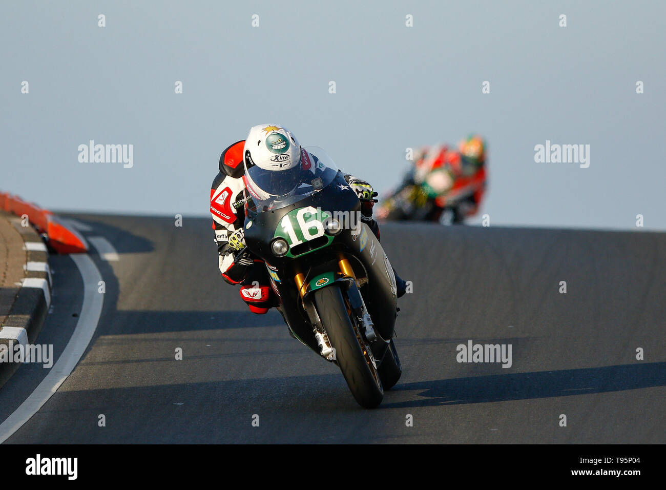 Portrush, Northern Ireland. 16th May, 2019. International North West 200 Motorcycle road racing, Thursday practice and evening racing; Italy's Stefano Bonetti wins the SuperTwin race on the Speed Motor BMW ahead of Jamie Coward (Prez Racing Yamaha) Credit: Action Plus Sports/Alamy Live News - Stock Image