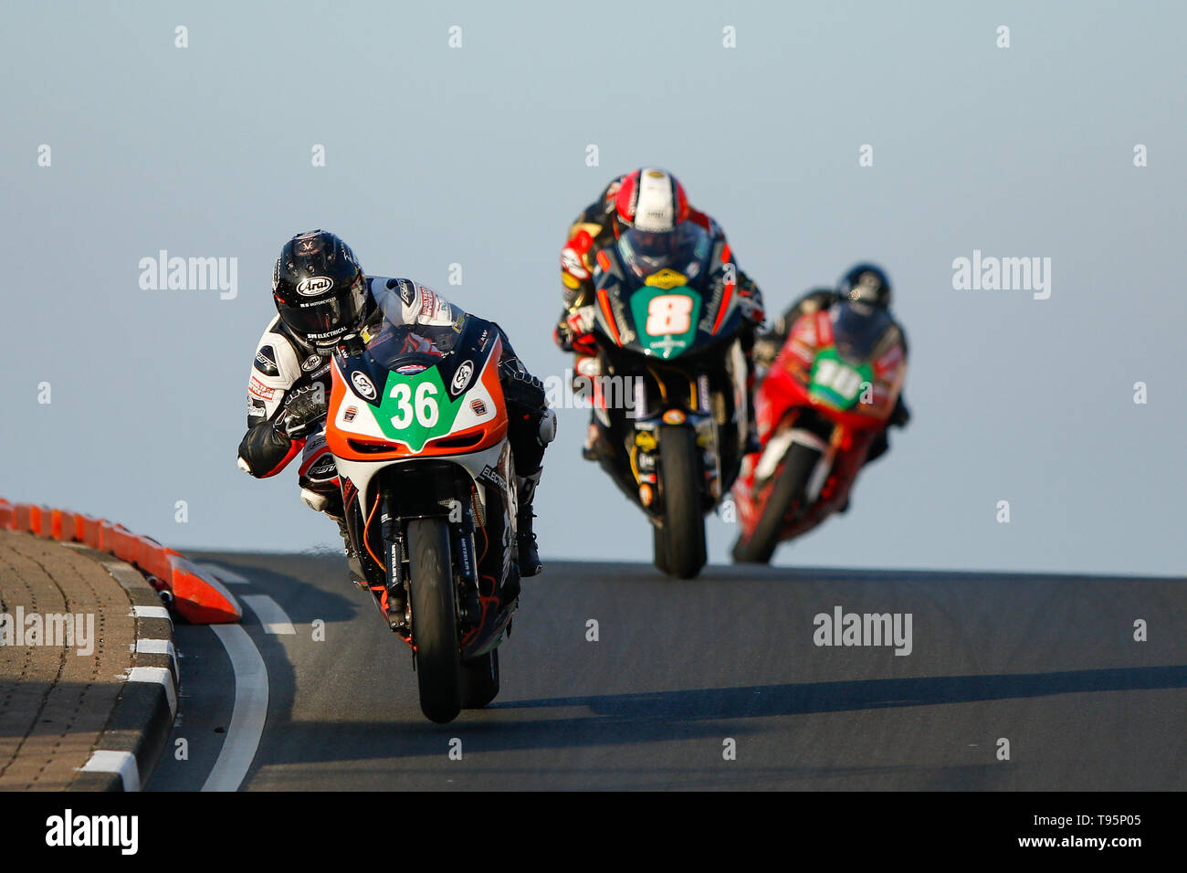 Portrush, Northern Ireland. 16th May, 2019. International North West 200 Motorcycle road racing, Thursday practice and evening racing; Jamie Coward (KTS Racing Kawasaki) finished in 2nd place in the SuperTwin race, ahead of Michael Rutter (Bathams Racing Kawasaki) Credit: Action Plus Sports/Alamy Live News - Stock Image