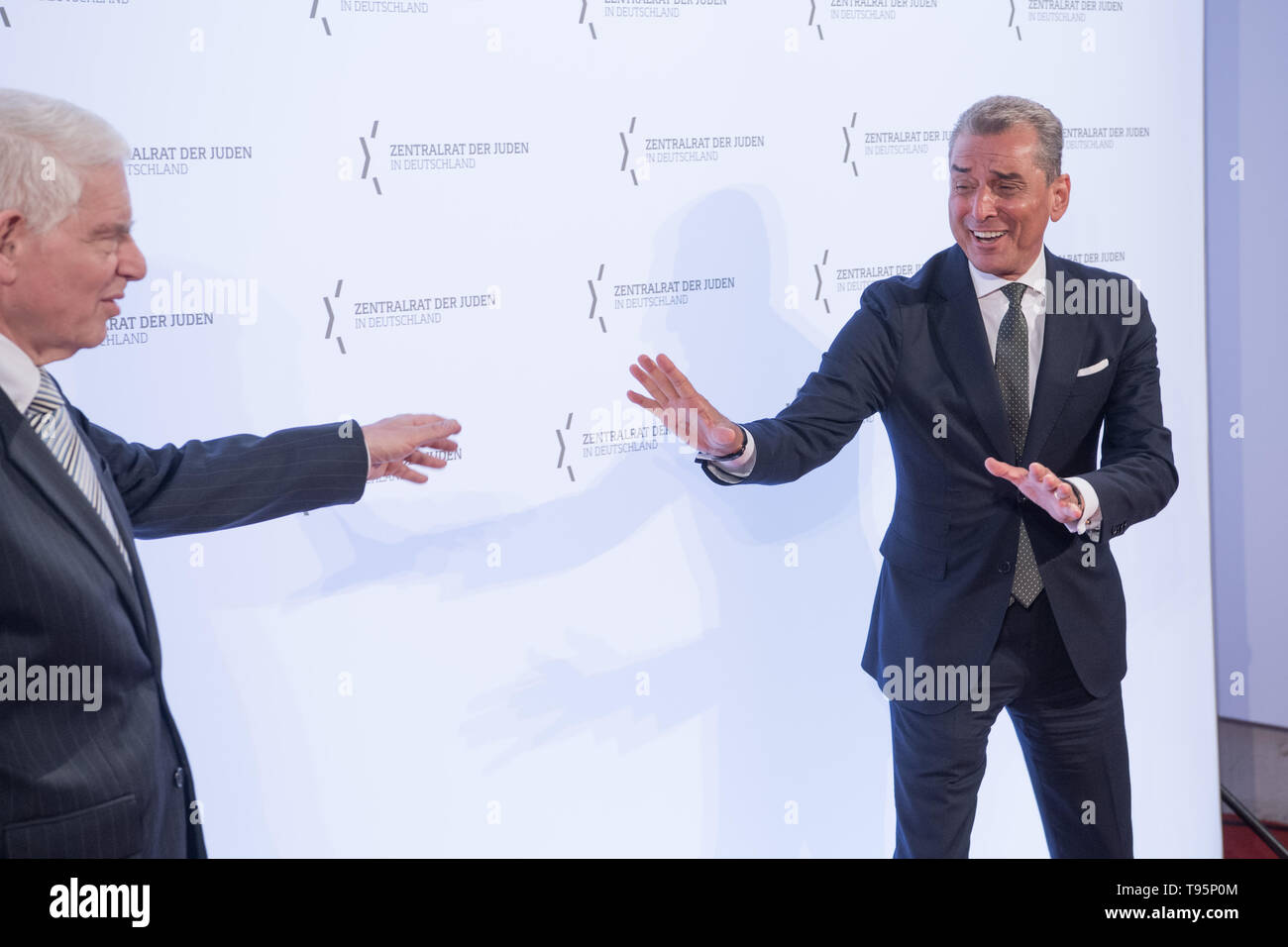 Berlin, Germany. 16th May, 2019. Josef Schuster (l), President of the Central Council of Jews in Germany, and Michel Friedman (CDU), publicist and presenter, come to the Leo Baeck Prize 2019. Credit: Jörg Carstensen/dpa/Alamy Live News - Stock Image