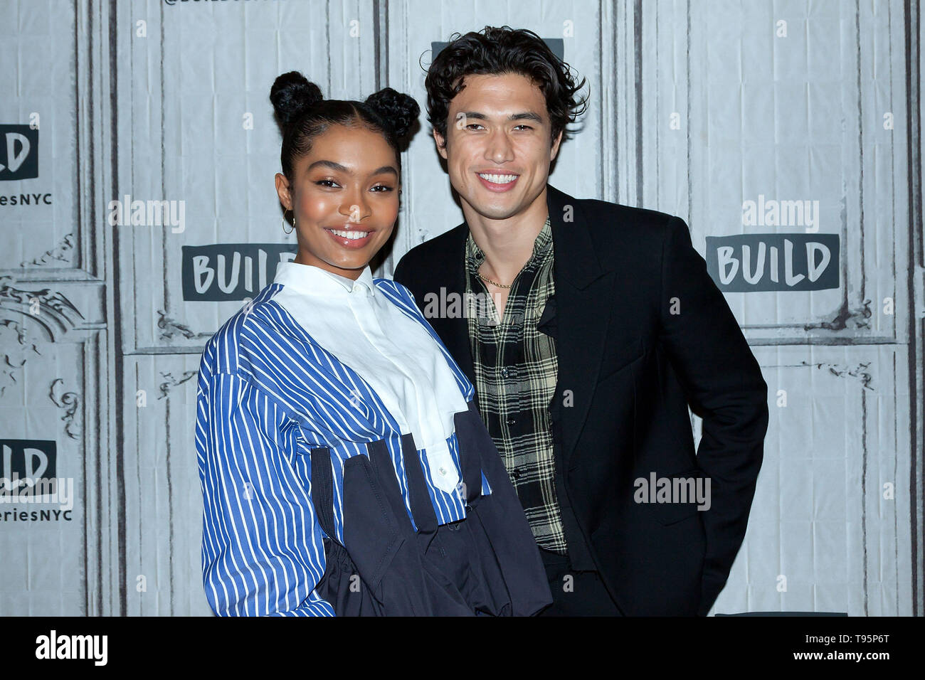 New York, USA. 16 May, 2019. Yara Shahidi, Charles Melton at the BUILD Series with Charles Melton and Yara Shahidi, discussing the new film 'The Sun Is Also a Star' at BUILD Studio. Credit: Steve Mack/Alamy Live News - Stock Image