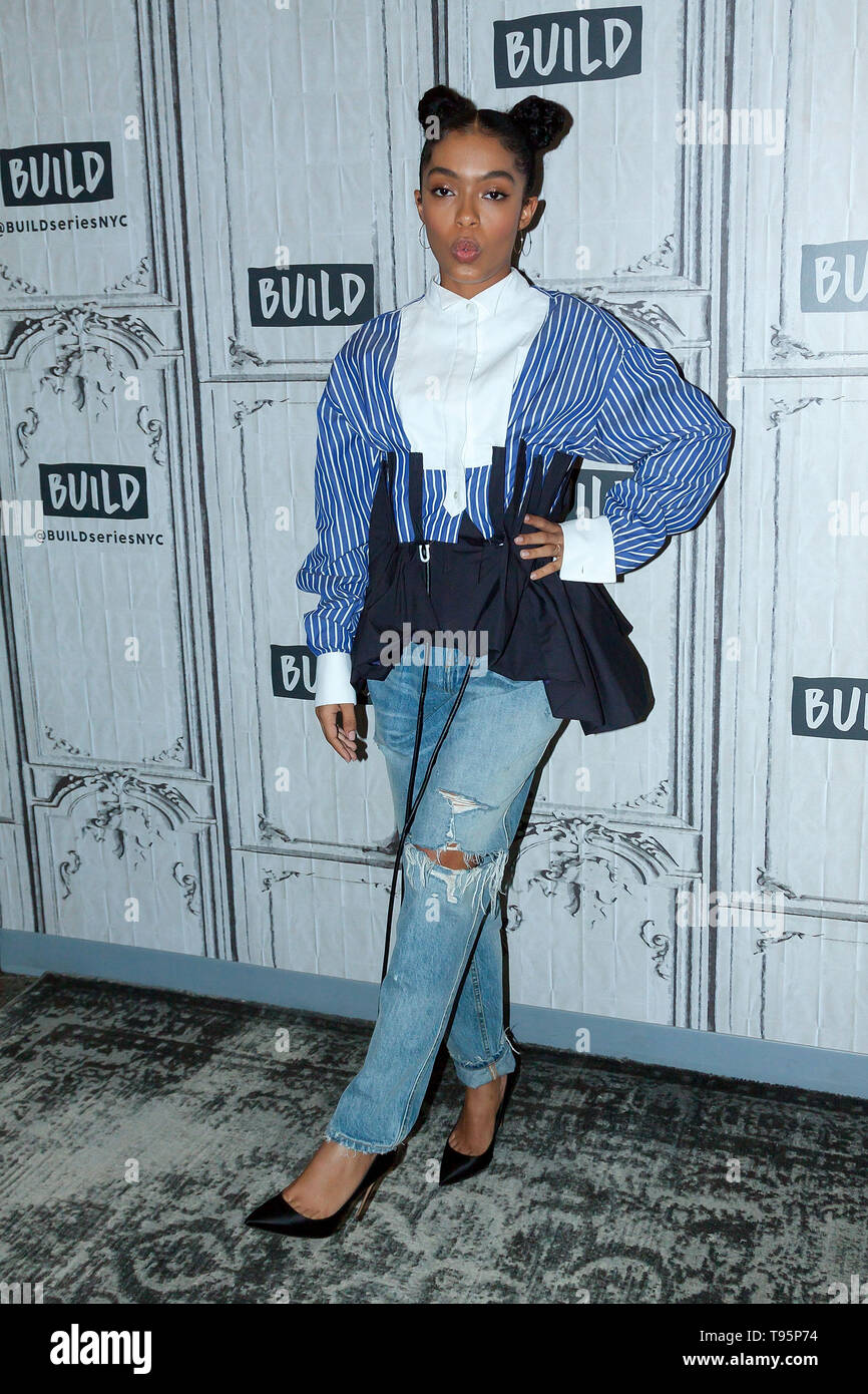 New York, USA. 16 May, 2019. Yara Shahidi at the BUILD Series with Charles Melton and Yara Shahidi, discussing the new film 'The Sun Is Also a Star' at BUILD Studio. Credit: Steve Mack/Alamy Live News - Stock Image