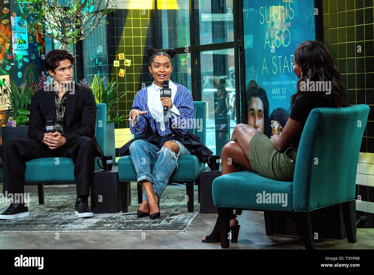 New York, USA. 16 May, 2019. Charles Melton, Yara Shahidi at the BUILD Series with Charles Melton and Yara Shahidi, discussing the new film 'The Sun Is Also a Star' at BUILD Studio. Credit: Steve Mack/Alamy Live News - Stock Image