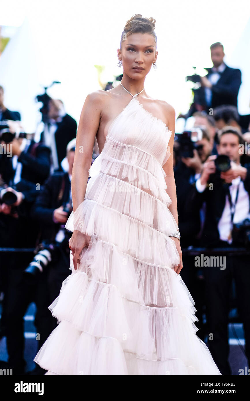 Cannes, France. 16th May, 2019. Bella Hadid poses on the red carpet for Rocketman on Thursday 16 May 2019 at the 72nd Festival de Cannes, Palais des Festivals, Cannes. Pictured: Bella Hadid. Picture by Credit: Julie Edwards/Alamy Live News Stock Photo