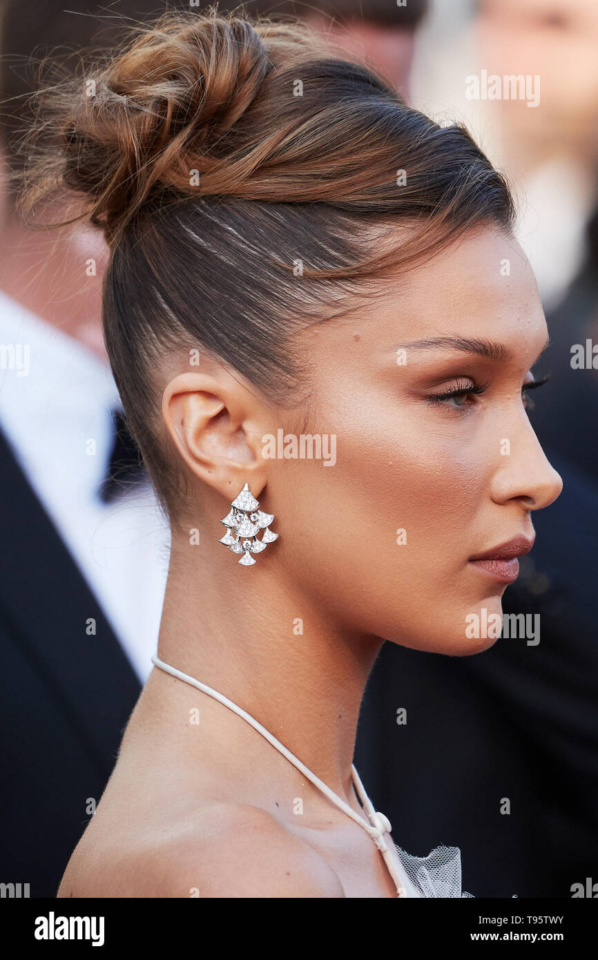 """Cannes, France. 16th May, 2019. CANNES, FRANCE - MAY 17: Bella Hadid attends the screening of """"Rocketman"""" during the 72nd annual Cannes Film Festival on May 16, 2019 in Cannes, France. (Photo by Oleg Nikishin/TASS) Credit: ITAR-TASS News Agency/Alamy Live News Stock Photo"""