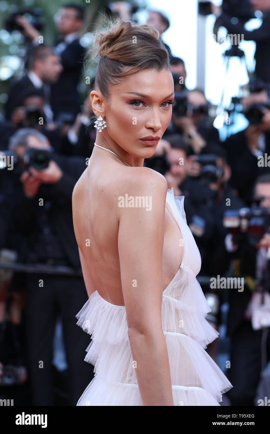 "Cannes, France. 16th May, 2019. Model Bella Hadid poses on the red carpet for the premiere of the film ""Rocketman"" at the 72nd Cannes Film Festival in Cannes, France, on May 16, 2019. The 72nd Cannes Film Festival is held here from May 14 to 25. Credit: Zhang Cheng/Xinhua/Alamy Live News Stock Photo"