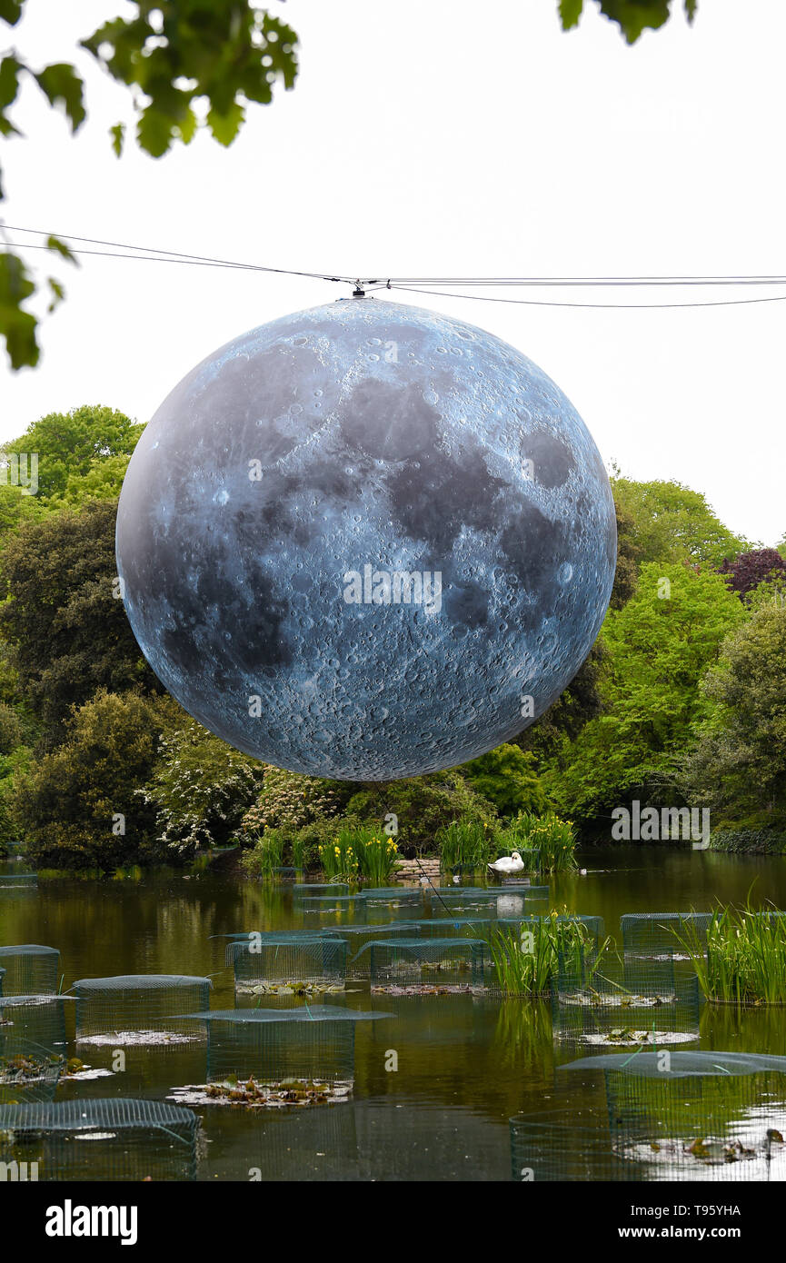 Brighton UK 30th April 2019 - A large model of the moon rises above Queens Park pond in Brighton this morning ready for tonights Brighton Festival event 'Museum of the Moon' by Luke Jerram . The moon will be lit up tonight and over the weekend accompanied by music by composer Dan Jones . Credit: Simon Dack / Alamy Live News - Stock Image