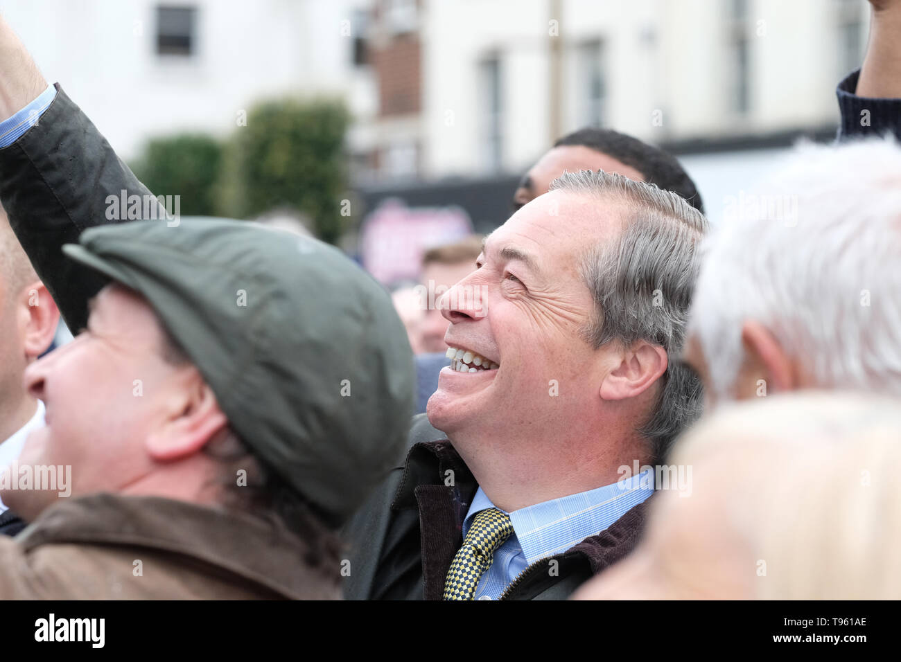 Dudley, West Midlands, England, UK - Friday 17th May 2019 – Nigel Farage meets the public during the Brexit Party tour event at Dudley, West Midlands ahead of next weeks European Parliament elections – The town of Dudley voted 67% in favour of leaving the EU in the 2016 referendum. Photo Steven May / Alamy Live News Stock Photo