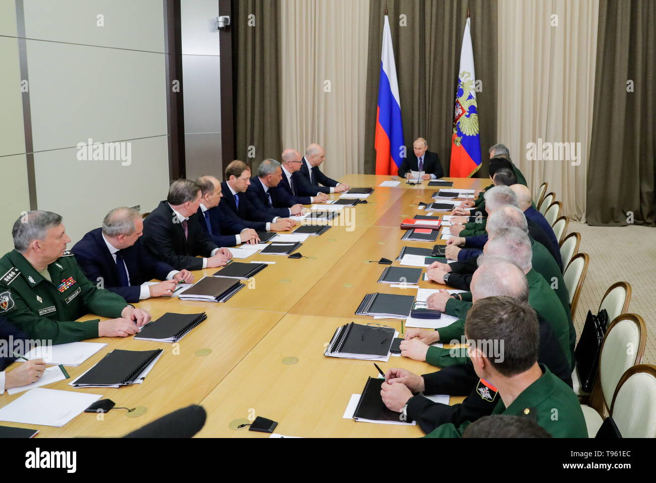 Sochi, Russia. 17th May, 2019. SOCHI, RUSSIA - MAY 17, 2019: Russia's President Vladimir Putin (C back) holds a meeting at Bocharov Ruchei residence to discuss development prospects for the Russian Aerospace Forces. Mikhail Metzel/TASS Credit: ITAR-TASS News Agency/Alamy Live News - Stock Image