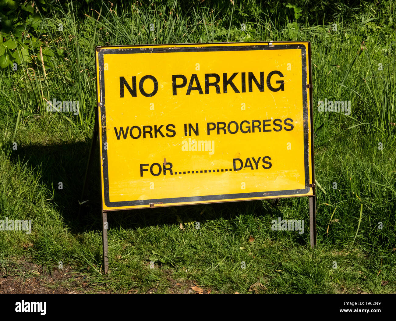 No parking, work in progress sign - Stock Image